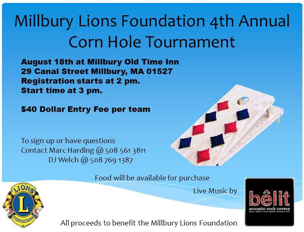 Millbury Lions Foundation 4th Annual Cornhole Tournament
